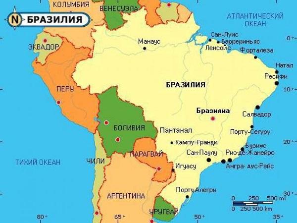 карта с городами Бразилии