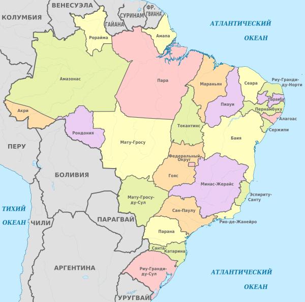 карта штатов Бразилии