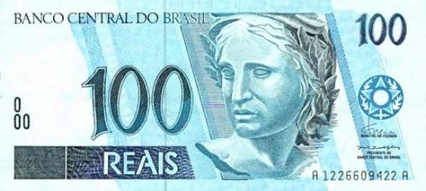 Банкнота достоинством 100 реалов, лицевая сторона