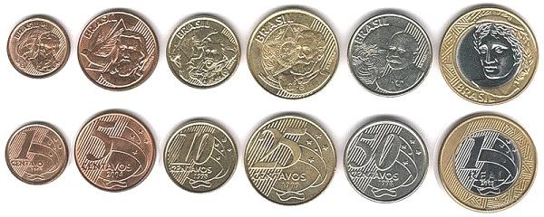 Бразильские монеты различного номинала